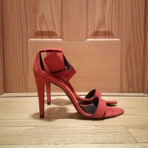 Zara Woman red faux suade strappy heels